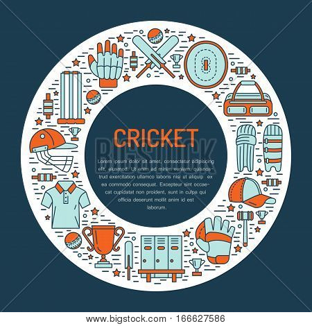 Cricket banner with line icons of ball, bat, field, wicket, helmet, apparel and other equipment. Vector circle illustration for sport championship poster.