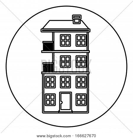 monochrome contour circle of apartment with several floors vector illustration