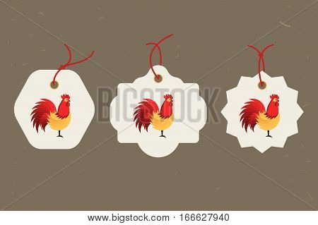 Decorative Rooster. Chinese New Year Symbol of 2017 New Year. Set of tags. Good for greeting card, invitation or banner. Vector illustration