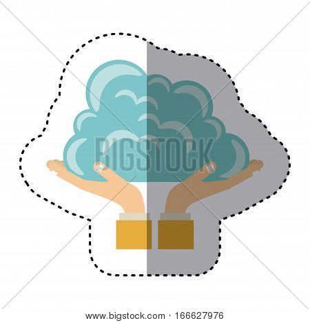colorful sticker of hands holding a cumulus cloud vector illustration