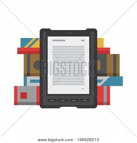 Tablet computer books for reading. Modern device with cloud technology. Mobile education concept. Electronic mobile book with paper books stack. Flat style vector isolated icon illustration.