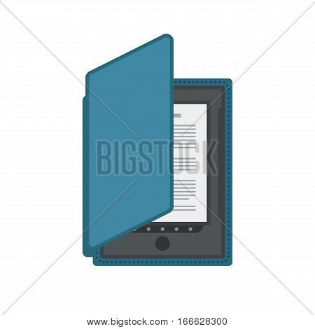 Tablet computer books for reading. Modern device with cloud technology. Mobile education concept. Electronic mobile book with cover. Flat style vector isolated icon illustration.