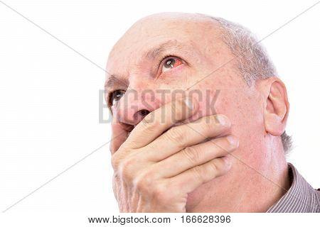 Senior Shocked Man With Irritated Red Bloodshot Eye