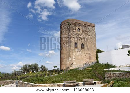 Tower of the castle of the village of Redondo Alentejo region Portugal