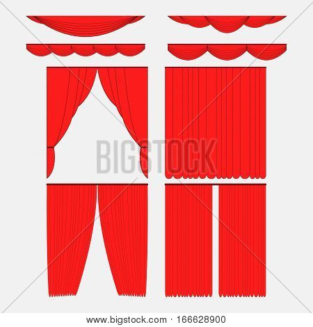 Set of red silk velvet curtains and draperies interior decoration design ideas of the open and closed icons collection isolated