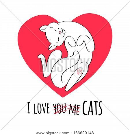 I love cats vector illsutration. Valentine day design. Good for holiday greeting card banner poster t-shirt design. White cat on heart background. Doodle style.