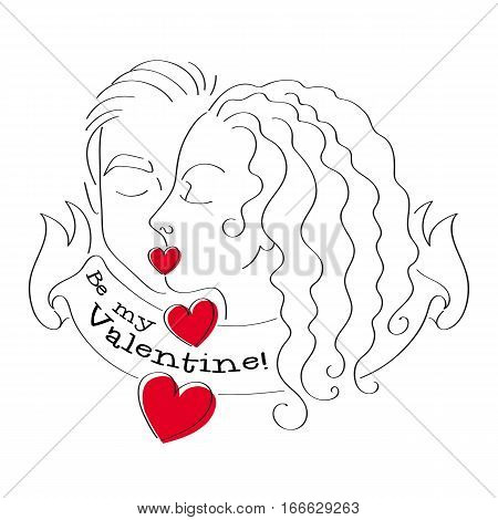 Man and woman kiss. Couple kissing. Be my valentine vector illustration with hearts.