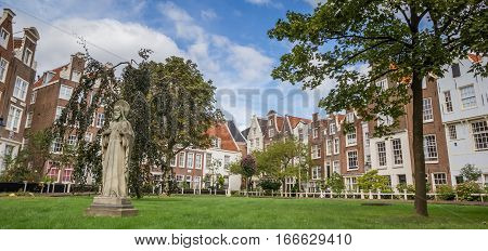 Panorama of the Begijnhof in the center of Amsterdam Holland