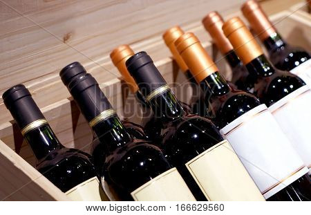wine shop. wine bottles on display in the chest