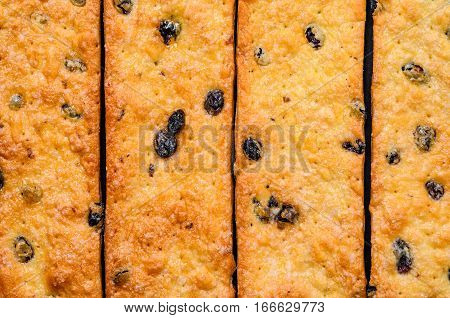 Sweet cookies with raisins. Pastry strips Pattern. Cookie Texture