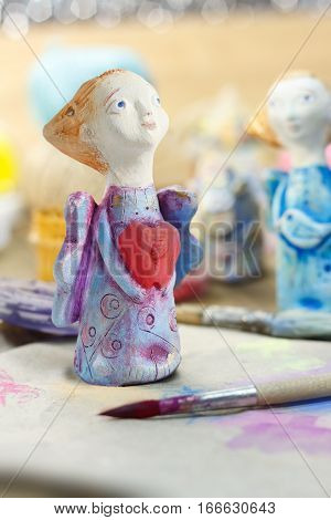 Closeup handmade figurine