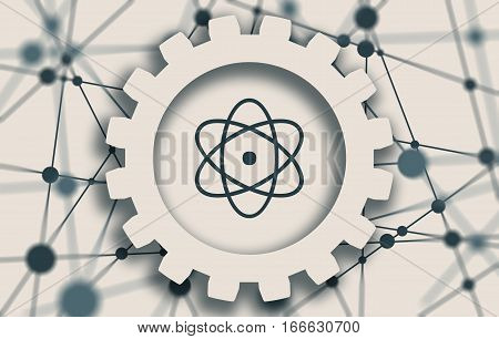 Pictograph of atom in thecenter of gear. Molecule And Communication Background. Brochure or report design template. Connected lines with dots.