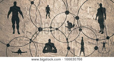 Human Communication Background. Brochure or web banner design template. Connected circles with dots. Medical and sociology background. Social network. Bodybuilder silhouette posing. Grunge texture