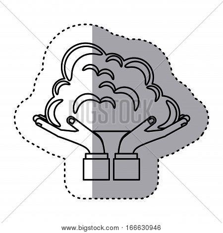 sticker contour of hands holding a cumulus cloud vector illustration