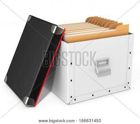 Open Folders Box With Black Lid
