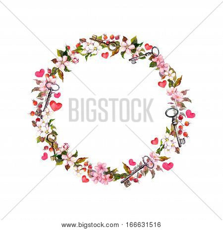 Floral wreath with pink flowers, hearts and keys. Watercolor circle border for Valentine day, wedding
