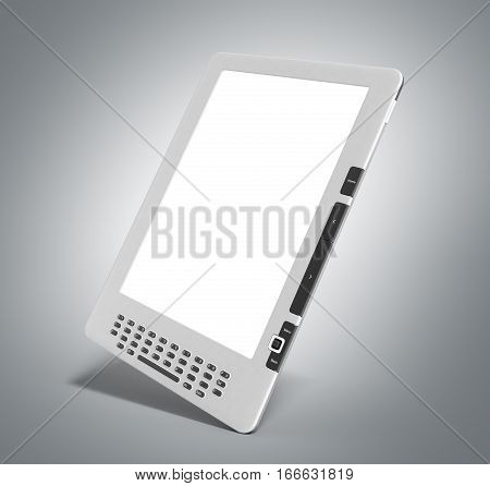Blank E-book Reader 3D Render Image On On Grey Gradient