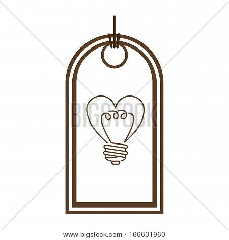 silhouette price tag with light bulb in heart shape vector illustration