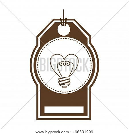 silhouette price tag with sticker circular of light bulb in heart shape vector illustration