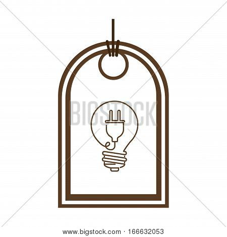 silhouette price tag of light bulb with connect shape vector illustration