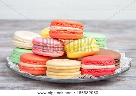 Colorful Macaroons Pastel Colors With Different Flavors On Glass Plate