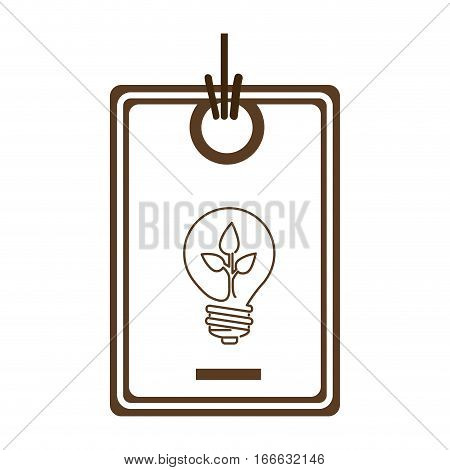 silhouette price tag of light bulb with leaf inside vector illustration