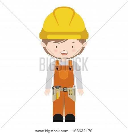 avatar worker with toolkit and brown hair vector illustration . Vector illustration . Vector illustration