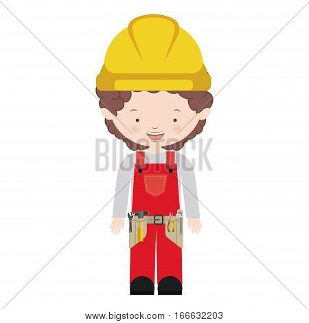 avatar worker with toolkit and curly hair vector illustration