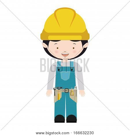 avatar worker with toolkit and blue uniform vector illustration
