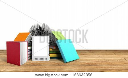 E-book Reader Books And Tablet On Wood 3D Illustration Success Knowlage Concept