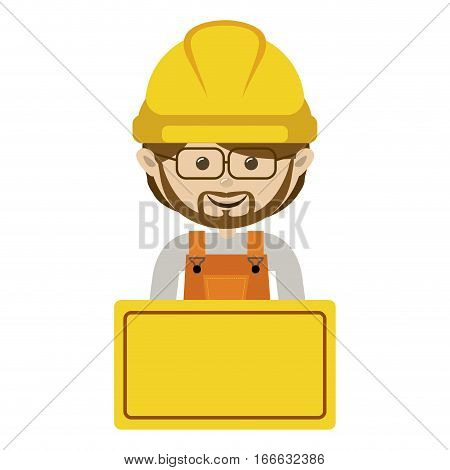 half body avatar worker with toolkit and glasses . Vector illustration . Vector illustration