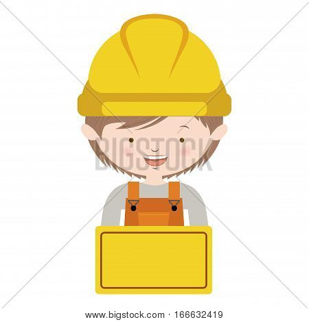 half body avatar worker with toolkit and brown hair vector illustration