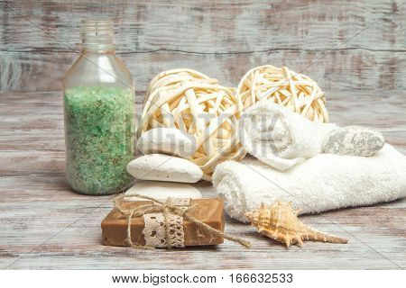 Set Spa And Wellness On Wooden Background