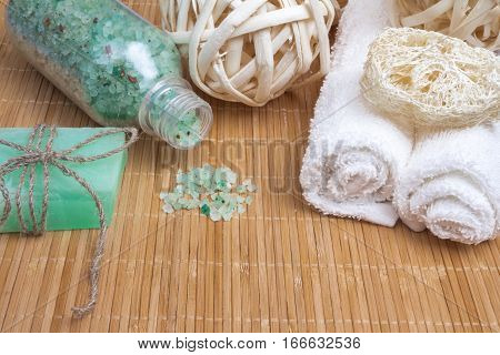 Sea Salt Bath, Soap, Towel And Loofah. Spa And Wellness