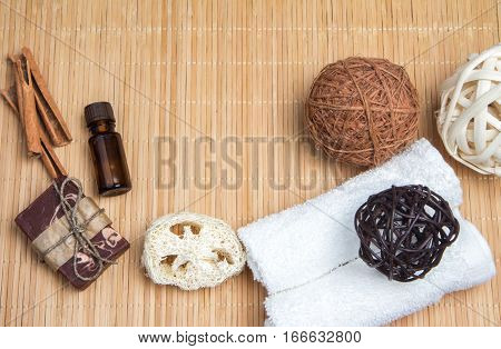 Spa Set In Brown Color On A Bamboo Mat