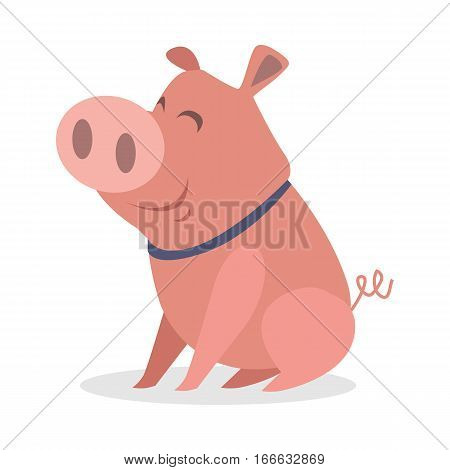 Cute piglet icon. Funny smiling little pig in collar seating flat vector illustration isolated on white background.  Domestic animal. For farming, animal husbandry, meat production companies ad