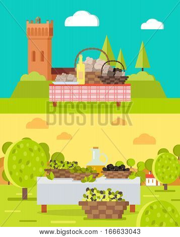 Italian truffles and spanish olive oil concepts. Baskets with mushrooms and olives on table with tablecloth, medieval city, farm garden on background vector illustrations. For travel company ad