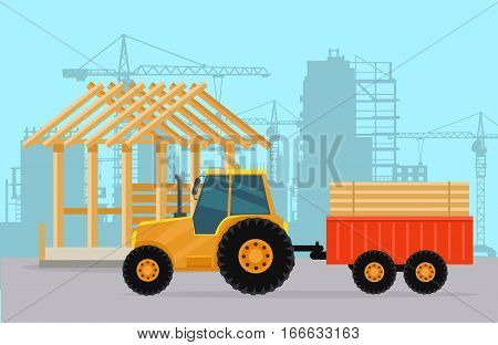 Tractor and trailer with wood materials for house building. Cranes, concrete blocks, high-rise buildings, structural works on background flat page design. Vector illustration for construction company.