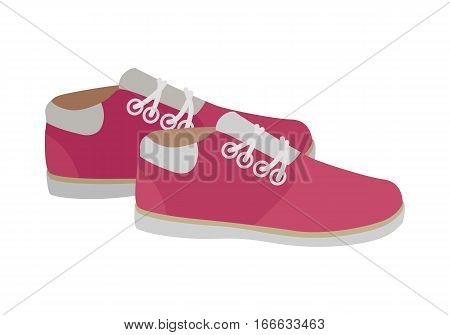 Pink sport running shoes isolated on white background. Pair of women s trekking shoes. Athletic shoes in flat style design. Footwear for fitness. Pair of casual sneakers. Vector illustration
