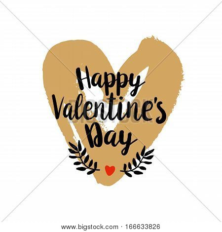Happy Valentines Day typography on hand drawn golden heart background. Vector illustration. Handmade calligraphy for print, card, T-shirt. Quote for Valentines Day Holidays