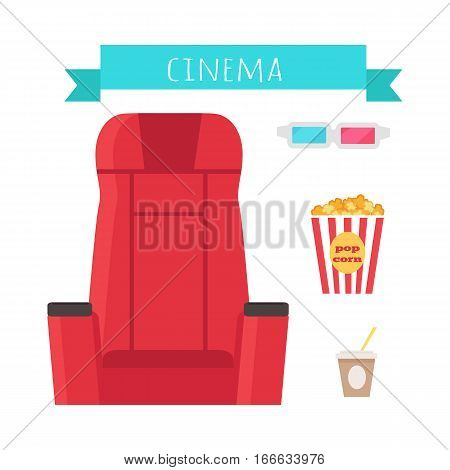Cinema objects set isolated on white. Comfortable chair, 3d glasses, popcorn, drink cola, soda. Movie tools in flat design. Armchair cinema icon. Movie entertainment auditorium show signs. Vector