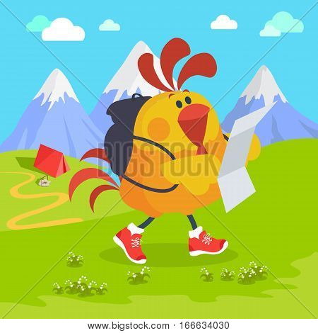 Rooster bird on excursion in mountains. Cock in a hiking tour. Chinese calendar zodiac cock horoscope. Chicken character collection in flat. New year xmas greeting card. Vector illustration