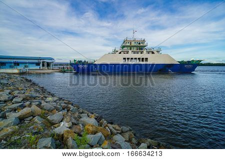Menumbok,Sabah-Jan 23,2017:Ferry transporting people & cars from Menumbok,Sabah to Labuan Island on 23rd Jan 2017.There is a daily ferry service between Menumbok,Sabah & Labuan Pearl Of BorneoMalaysia