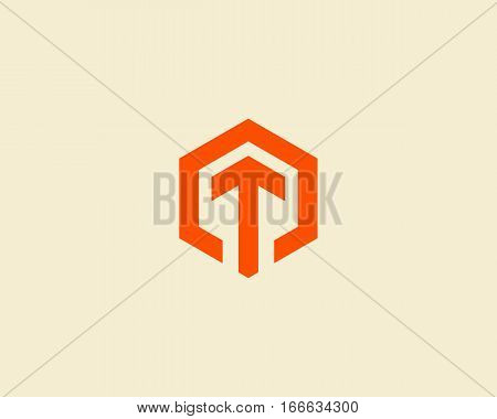 Abstract letter T vector logotype. Line hexagon creative simple logo design template. Universal geometric symbol font icon