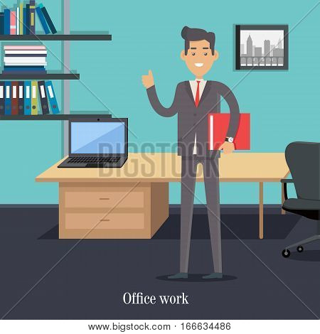 Office worker in boss cabinet. Male character cartoon in flat style. Young smiling man standing with book in hands. Office worker, assistant illustration for educational business concept, infographics