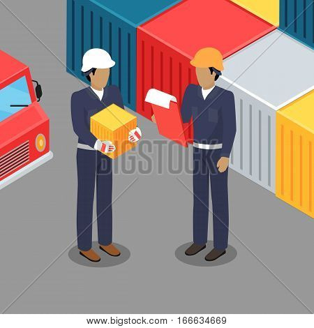 Cargo worker and foreman with clip board talking in warehouse. Supervisor checking containers data. Inspector controlling working process in the seaport. Coworkers near cargo containers. Vector