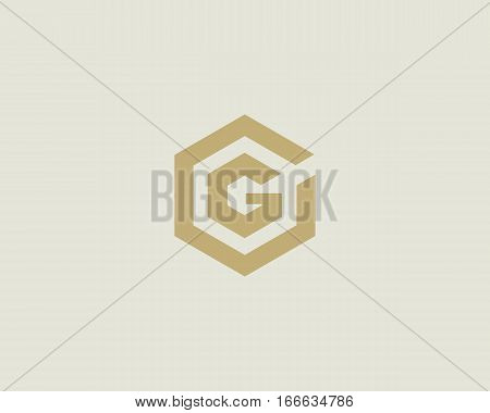 Abstract letter G vector logotype. Line hexagon creative simple logo design template. Universal geometric symbol font icon