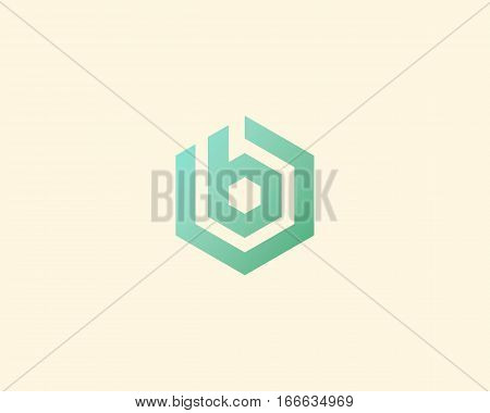 Abstract letter B vector logotype. Line hexagon creative simple logo design template. Universal geometric symbol font icon