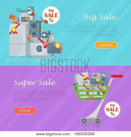 Sale in electronics store web banners set. Home appliances with discounts stickers on floor and in shopping trolley flat vector illustrations. Big sale and super sale horizontal concepts for shop ad