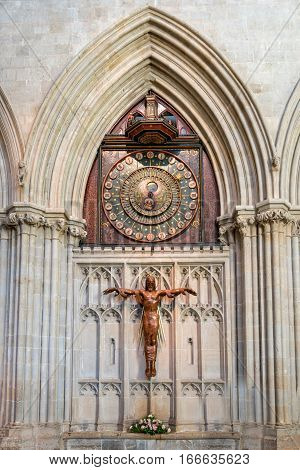 Wells United Kingdom - August 6 2016: Internal dial of astronomical clock and Christus Redemptor figure inisde Wells cathedral
